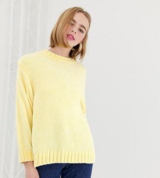 Monki textured crew neck sweater in light yellow