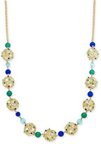Kate Spade Gold-Tone Openwork Sphere and Beaded Long Statement Necklace