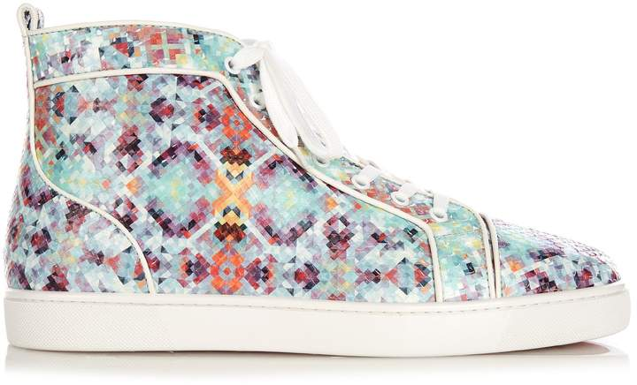 Christian Louboutin Louis spike-python pixelated high-top trainers