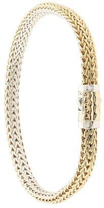 John Hardy 18kt yellow gold and sterling silver Classic Chain extra-small reversible bracelet