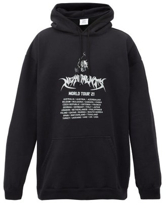 Vetements World Tour-print Cotton-jersey Hooded Sweatshirt - Black