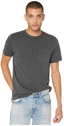 J.Crew Garment-Dyed Slub Cotton Crewneck T-Shirt (Black) Men's Clothing