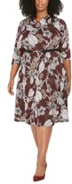 Robbie Bee Plus Size Belted Floral-Print Dress