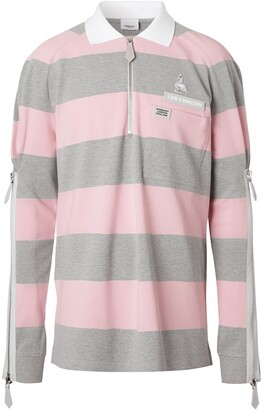 Burberry Long-Sleeved Zip Detail Striped Polo Shirt
