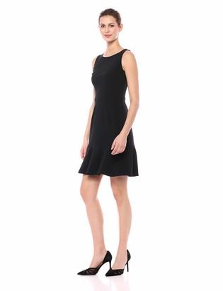Lark & Ro Amazon Brand Women's Sleeveless Crew Neck Ruffle Hem Sheath Dress