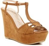 Elegant Footwear Prince T-Strap Platform Wedge Sandal