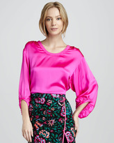 Satin Lantern-Sleeve Blouse