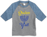 Urban Smalls Heather Blue & Gray 'Shalom Y'all' Raglan Tee - Toddler & Kids