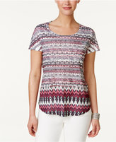 Style&Co. Style & Co Petite Printed Shirttail-Hem T-Shirt, Only at Macy's