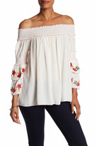 Max Studio Embroidered Off-the-Shoulder Gauze Blouse