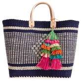Mar y Sol 'Ibiza' Woven Tote With Tassel Charms - Blue