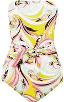 Emilio Pucci Tie-front Printed Bandeau Swimsuit - Yellow