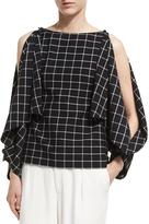 Robert Rodriguez Split-Sleeve Grid Crepe Top