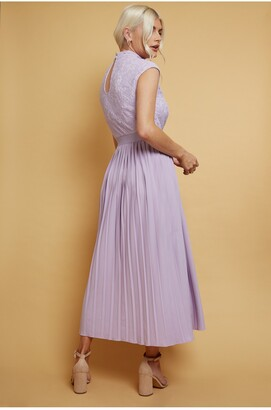 Little Mistress Axel Lilac Lace Pleated Midaxi Dress