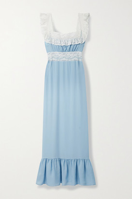 Loretta Caponi Margherita Lace-trimmed Silk-georgette Nightdress - Sky blue