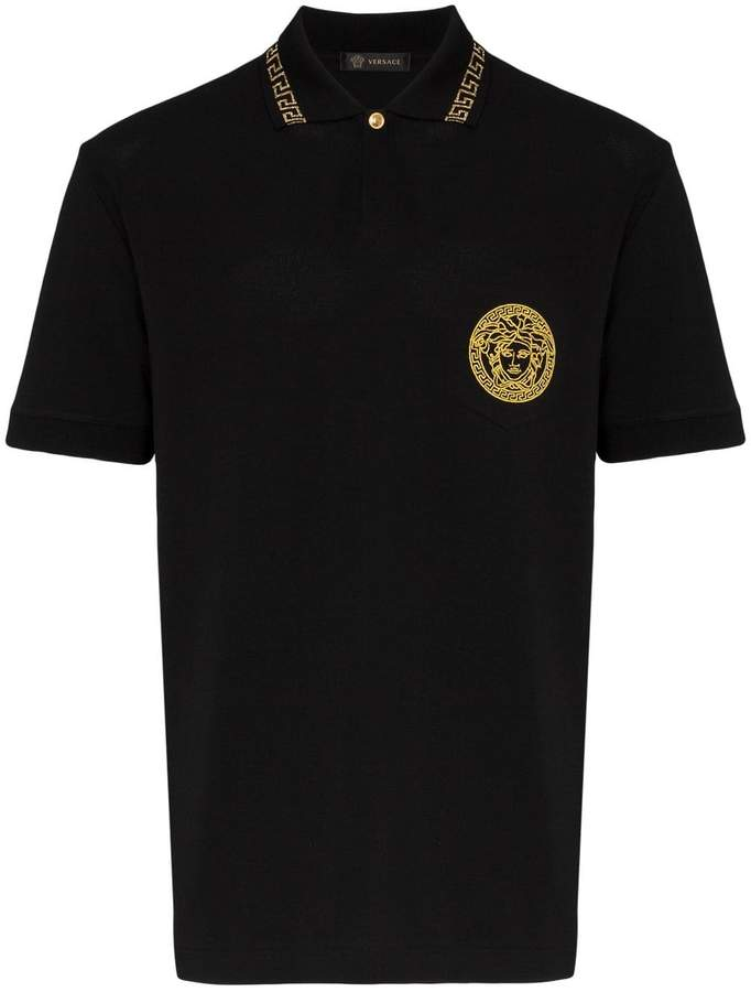 Versace medusa embroidered cotton polo shirt