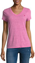 U.S. Polo Assn. Short Sleeve V Neck T-Shirt-Womens Juniors