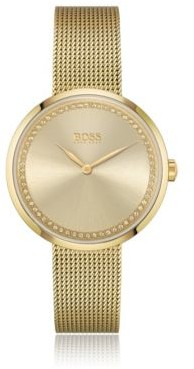 HUGO BOSS Swarovski-crystal-trimmed watch with yellow-gold finish