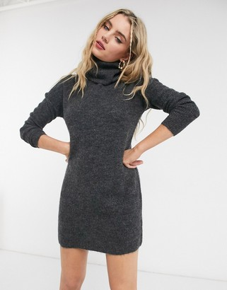 Only sweater dress with roll neck in gray