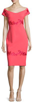 La Petite Robe di Chiara Boni Tasha Off-the-Shoulder Floral-Embroidered Sheath Dress