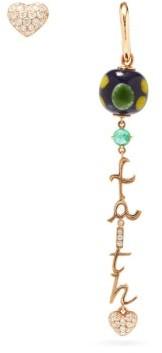 Francesca Villa Faith In Love Diamond & 18kt Gold Earrings - Womens - Gold Multi