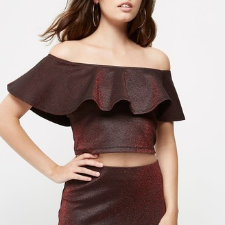 River Island Petite red metallic frill bardot crop top