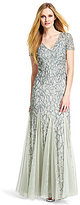Adrianna Papell V Neck All Over Sequin Gown