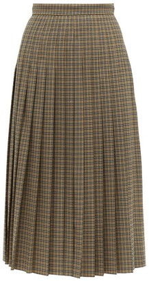 Rochas Checked Pleated Wool-blend Midi Skirt - Brown Multi