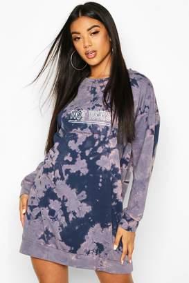 boohoo Slogan Acid Wash Sweatshirt Dress