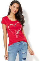 """New York & Co. Lounge - """"Love"""" Graphic Logo T-Shirt - Red"""