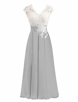 Stillluxury Chiffin Lace Bridesmaid Dresses Midi Cap Sleeve Evening Wedding Dress Purple Size 12