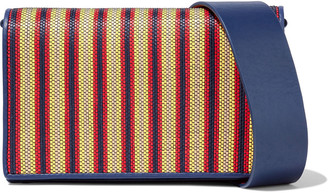 Diane von Furstenberg Soiree Striped Faux Raffia-paneled Leather Shoulder Bag