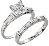 Silver Plated Square Cut Cubic Zirconia with Tapered Baguettes Wedding Ring Set - Size 7