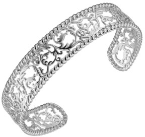 PRIME ART & JEWEL Sterling Silver Filigree Design Cuff Bracelet