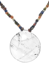 Catherine Michiels Large Round Rock Crystal Pendant Necklace on Mixed African Beads