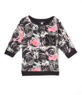 KensieGirl Black & Pink Rose Tee - Girls