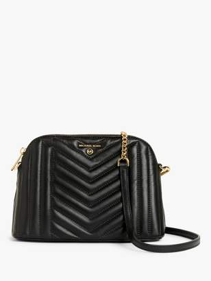 Michael Kors MICHAEL Large Quilted Leather Dome Cross Body Bag, Black