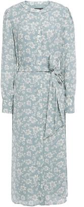 ALEXACHUNG Belted Floral-print Crepe Midi Dress