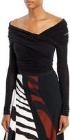 Roberto Cavalli Off-the-Shoulder Long-Sleeve Draped Jersey Bodysuit