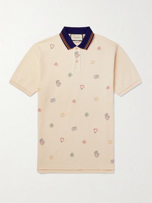 Gucci Embroidered Stretch-Cotton Pique Polo Shirt - Men - Neutrals