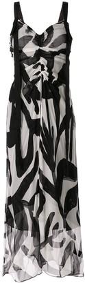 Lee Mathews abstract print gathered dress