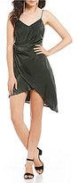 GB Social Satin Drape Neck Asymmetrical Hem Dress