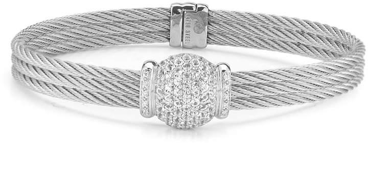 Alor Triple Cable Bangle w\/ Diamond Pave Gray