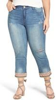 Democracy Plus Size Women's Embroidered Hem Crop Jeans