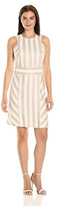 Sharagano Women's Sleeveless Stripe Dress with Keyhole Back