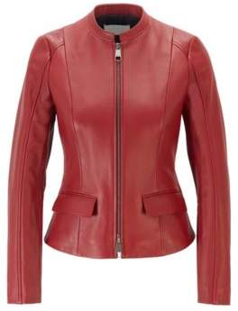BOSS Leather jacket in lamb nappa with buckle detail