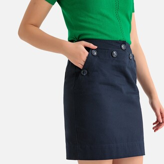 La Redoute Collections Buttoned Cotton Pencil Skirt