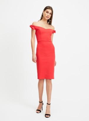 Miss Selfridge Red Tie Shoulder Pencil Midi Dress