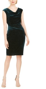 Jessica Howard Cowlneck Glitter-Velvet Sheath Dress