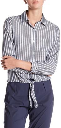 Dress Forum Striped Tie Front Blouse